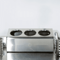 Steril-Sil 3-hole (1x3) countertop silverware and condiment dispenser. Holds Steril-Sil silverware cylinders or 30 oz. condiment containers. Made in the U.S.A. Model LTC-3