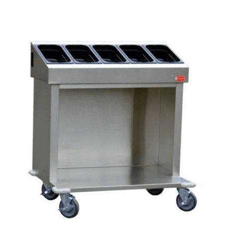 """Steril-Sil 36"""" starter cart. Holds (5) third-size hotel pans and various combinations. Open base for trays or glass racks. 35.25"""" x 25.25"""" x 39.00"""" H. Made in the U.S.A. Model CRT36-5TP"""