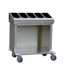 "Steril-Sil 36� starter cart. Holds (5) third-size hotel pans and various combinations. Open base for trays or glass racks. 35.25� x 25.25� x 39.00"" H. Made in the U.S.A. Model CRT36-5TP"