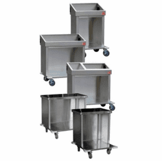 "Steril-Sil 36"" tray and silverware cart. Includes back and side panels, integrated handles, corner bumpers, locking casters and (18) RP-25 silverware cylinders. Model CRT36-18-RED"