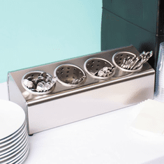 Steril-Sil 4-hole (1x4) countertop silverware and condiment dispenser. Holds Steril-Sil silverware cylinders or 30 oz. condiment containers. Made in the U.S.A. Model LTC-4