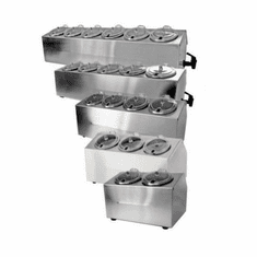 Steril-Sil 5-hole (1x5) non-insulated condiment dispenser. Includes (5) Steril-Sil SC-750 containers and HC-20-X hinged covers. Made in the U.S.A. Model LTC-5SW
