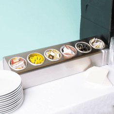 Steril-Sil 6-hole (1x6) countertop silverware and condiment dispenser. Holds Steril-Sil silverware cylinders or 30 oz. condiment containers. Made in the U.S.A. Model LTC-6