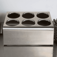 Steril-Sil 6-hole (2x3) countertop silverware and condiment dispenser. Holds Steril-Sil silverware cylinders or 30 oz. condiment containers. Made in the U.S.A. Model TC-6