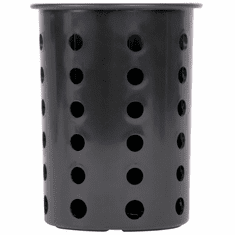 Steril-Sil Black silverware cylinder. Straight-walled design for highest industry capacity, less silverware jamming and a stable base. Made in the U.S.A. Model RP-25-BLACK