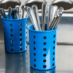 Steril-Sil Blue silverware cylinder. Straight-walled design for highest industry capacity, less silverware jamming and a stable base. Made in the U.S.A. Model RP-25-BLUE