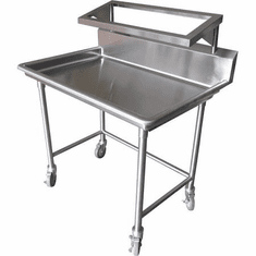 "Steril-Sil E1 System 1-position sorting table. Holds (2) E1 baskets and (1) soak sink. Includes drain and casters. 44.00"" x 30.00"" x 54.00"" H. Made in the U.S.A. Model E1-STE-2H"