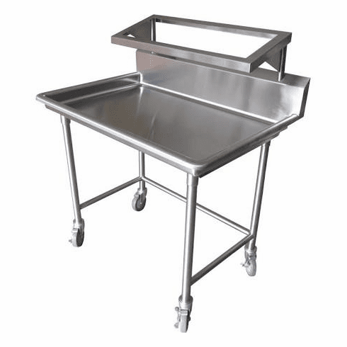 """Steril-Sil E1 System 1-position sorting table. Holds (2) E1 baskets and (1) soak sink. Includes drain and casters. 44.00"""" x 30.00"""" x 54.00"""" H. Made in the U.S.A. Model E1-STE-2H"""