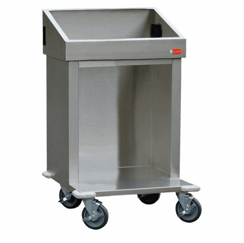 "Steril-Sil E1 System 24"" cart. Holds (2) E1 inserts at angle in vertical position. Open base for trays or glass racks.25.25"" X 25.25"" X 39"" H. Made in the U.S.A. Model E1-CRT24-2V"