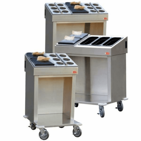 """Steril-Sil E1 System 36"""" cart. Holds (1) E1 insert at angle in vertical position and (1) full-size hotel pan. Open base. 35.25"""" X 25.25"""" X 39.00"""" H. Made in the U.S.A. Model E1-CRT36-1V1HP"""