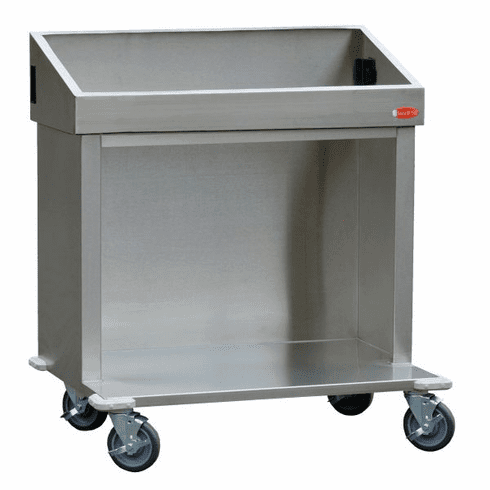 """Steril-Sil E1 System 36"""" cart. Holds (3) E1 inserts at angle in vertical position. Open base for trays or glass racks. 35.25"""" X 25.25"""" X 39.00"""" H . Made in the U.S.A. Model E1-CRT36-3V"""