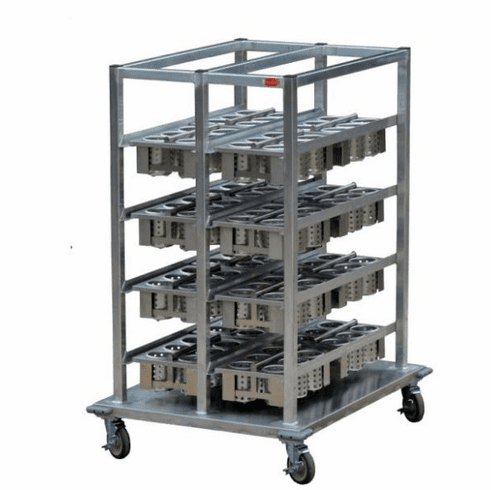 """Steril-Sil E1 System basket storage cart. Holds (16) E1 baskets. Aluminum. Includes cover for overnight storage and bumpers. 44.00"""" x 35.00"""" x 57.00"""" H. Made in the U.S.A. Model E1-BSC-16"""