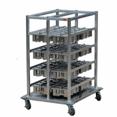 "Steril-Sil E1 System basket storage cart. Holds (16) E1 baskets. Aluminum. Includes cover for overnight storage and bumpers. 44.00"" x 35.00"" x 57.00"" H. Made in the U.S.A. Model E1-BSC-16"