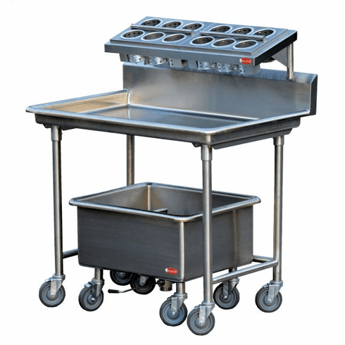 """Steril-Sil E1 System complete 1-position silverware sorting station. Includes sorting table, soak sink and (4) E1 baskets. 44.00"""" x 30.00"""" x 54.00"""" H. Made in the U.S.A. Model E1-LSS-2H"""