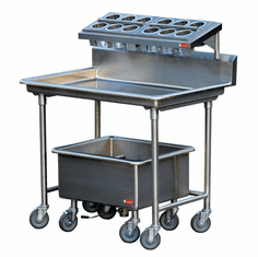 "Steril-Sil E1 System complete 1-position silverware sorting station. Includes sorting table, soak sink and (4) E1 baskets. 44.00"" x 30.00"" x 54.00"" H. Made in the U.S.A. Model E1-LSS-2H"
