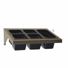 "Steril-Sil Hotel pan wall shelf. Holds (1) full-size hotel pan horizontally at angle. Pans and mounting hardware not included. 23.00"" x 16.00"" x 8.00"" H. Made in the U.S.A. Model WSA-1HP"