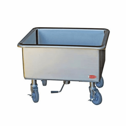 "Steril-Sil Mobile soak sink. Large heavy duty 14-gauge stainless steel with twist lever drain and locking casters. Bowl is 20.00"" x 25.00""x 12.00"" deep. Made in the U.S.A Model SK-2025"