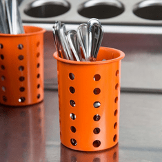 Steril-Sil Orange silverware cylinder. Straight-walled design for highest industry capacity, less silverware jamming and a stable base. Made in the U.S.A. Model RP-25-ORANGE