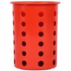 Steril-Sil Red silverware cylinder. Straight-walled design for highest industry capacity, less silverware jamming and a stable base. Made in the U.S.A. Model RP-25-RED