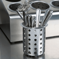 Steril-Sil Stainless steel silverware cylinder, high capacity straight-walled design holds 50% more than tapered imports, 18 gauge 304 stainless, Made in U.S.A. Model S-500