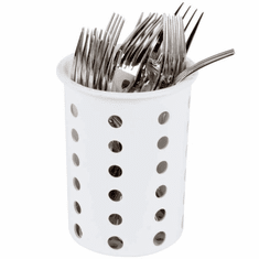 Steril-Sil White silverware cylinder. Straight-walled design for highest industry capacity, less silverware jamming and a stable base. Made in the U.S.A. Model RP-25-WHITE