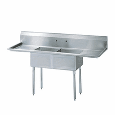 Turbo Air German Knife Stainless Steel Sink With 2 CompartmentsNsf, Model TSA-2-12-D1