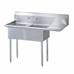 Turbo Air German Knife Stainless Steel Sink With 2 CompartmentsNsf, Model TSB-2-R2