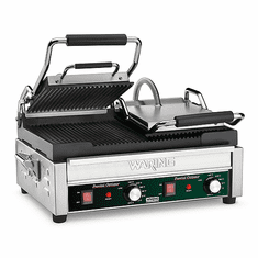 """Waring Commercial 17"""" x 9.25"""" Double Panini Grill 240V