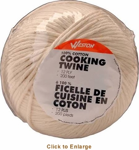 Weston Cooking Twine Ball - 200'2-Ply Natural Cotton , Model# 19-0501-W
