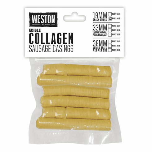 Weston Edible Collagen Casings – 19MM, Makes 30 Lbs. of Sausage, Model# 19-0101-W