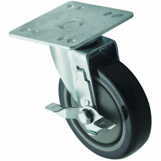 "Winco Universal 4"" X 4"" Plate Casters With Brake5"" Wheel2Pc Set., Model# CT-44B"