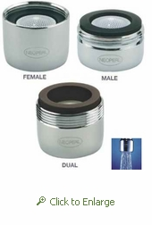 NEOPERL PCA Careguard 0.5 gpm Laminar Flow Faucet Aerator w/Agion Antimicrobial, Male 15/16 - 27 or Female 55/64 or Dual Thread, Spray Stream