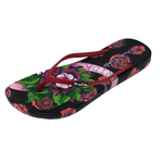 Ish Original Official Frida Kahlo Black Rose Women Flip-Flop Sandal