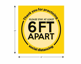 22 x 22 Social Distancing Floor Decal 10 Pack