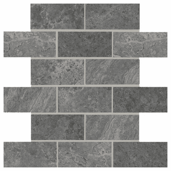 American Olean Laurel Heights Charcoal Crest Brick Joint Mosaic 2 x 4