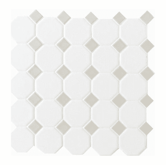 Daltile Octagon Dot 12 Quot X 12 Quot Matte White With Gray Gloss Dot
