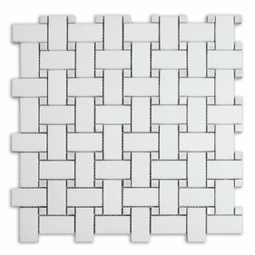 """Meridian Basketweave Thassos with Mother of Pearl Dot Polished Mosaic 1"""" x 2"""""""