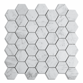 """Meridian Hex Thassos Marble Polished Mosaic 2"""""""