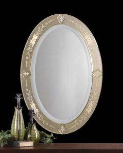 Antiqued Oval Mirror