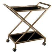 Black Glass Bar Cart