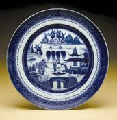 Blue Canton Dinner Plate by Mottahedeh
