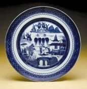 Blue Canton Large Dinner Plate by Mottahedeh