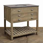 Grey Wash Reclaimed Wood Vanity with Bluestone Top