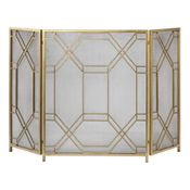 Gold Fireplace Screen with Mesh