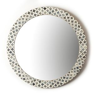 Round Mirror with Bone Inlay