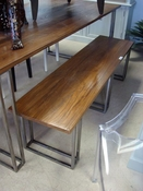 Walnut Table With Brushed Steel Base