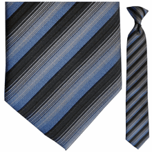 Boys Grey, Black, + Blue Stripe Clip-On Tie
