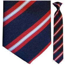 Boys Navy + Red Stripe Clip-On Tie