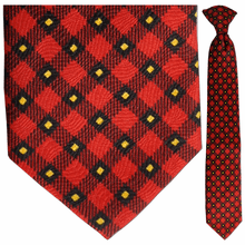 Boys Red + Yellow Plaid Clip-On Tie
