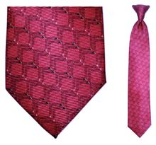 Boys Silk Woven Red/pink Link Pattern Clip On Tie